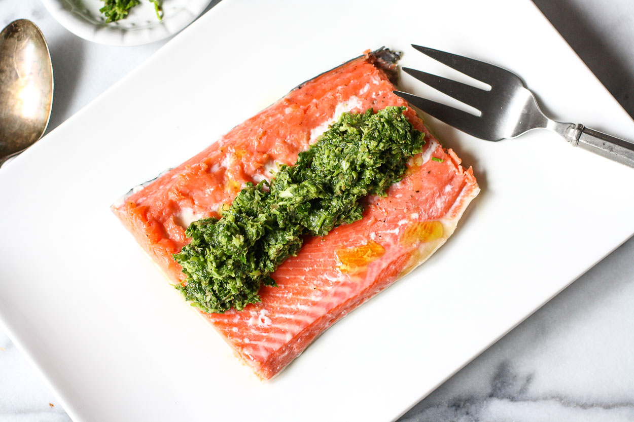 salmon with parsley sauce